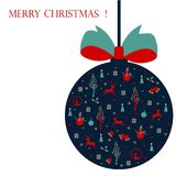 Merry Christmas ,Christmas card with icons Royalty Free Stock Photo