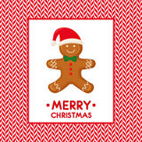 Merry Christmas card illustration with Gingerbread man on candy canes vector background Stock Photography