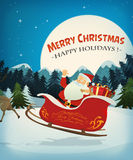 Merry Christmas Card. Illustration of santa claus character driving a sleigh and his reindeer, in the snow through the night, for christmas holidays Stock Images