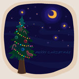 MERRY CHRISTMAS CARD. Illustration of MERRY CHRISTMAS. christmas tree at night Royalty Free Stock Image