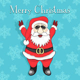 Merry Christmas card. Jolly Santa Claus rock in sunglasses on a blue background. With snowflakes Royalty Free Stock Photo