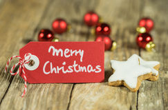 Merry Christmas card. Merry Christmas label with christmassy decoration Royalty Free Stock Photo