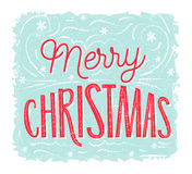 Merry Christmas card with lettering at blue frosty background. Vector vintage banner design. Stock Image