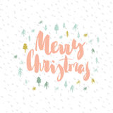 Merry christmas card with lettering. Christmas card with inscription `Merry Christmas` and a hand-painted Christmas tree and snowflakes on a white background Royalty Free Stock Images