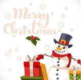 Merry Christmas card with lettering, snowman and gifts Royalty Free Stock Photos