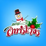 Merry christmas card on light blue background copy space for Greeting card. Vector and illustration Stock Photography