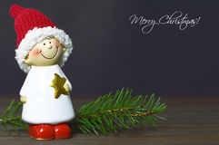 Merry Christmas card. With little Christmas elf Stock Photography