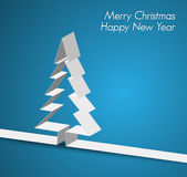 Merry Christmas card made from paper stripe. Merry Christmas card with a white tree made from paper stripe Stock Image