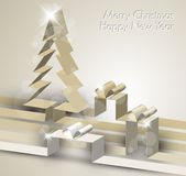 Merry Christmas card made from paper stripes. Merry Christmas card with a white tree made from paper stripes Royalty Free Stock Photos