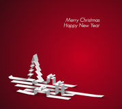 Merry Christmas card made from paper stripes. Merry Christmas card with a white tree and gift boxes made from paper stripes stock illustration