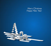 Merry Christmas card made from paper stripes. Merry Christmas card with a white tree and gift boxes made from paper stripes Stock Images