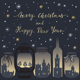 Merry Christmas card with magical Christmas Jars Stock Images