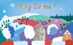 Merry Christmas card with mountain village, cows, Royalty Free Stock Images