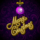 Merry Christmas Card with Neon Color and Bokeh Lighting Background Stock Photo