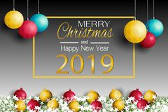 Merry Christmas card and New Year 2019 with a lamp on the grass background. Merry Christmas card and New Year 2019. with a lamp on the grass background royalty free illustration
