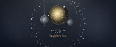Merry Christmas card. 2017 New Year shining banner with seasonal greetings. 