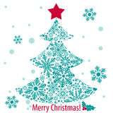 Merry Christmas card with New Year tree. Vector illustration Royalty Free Stock Photography
