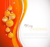Merry Christmas  card with orange bauble Stock Image