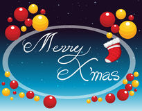 Merry Christmas card with ornaments Stock Photo