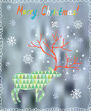 Merry Christmas card with ornate deer and snow Royalty Free Stock Image