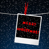 Merry Christmas card with picture over night sky Stock Images