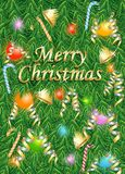 Merry christmas card with pine leave, bell, ball, lamp and candy stick Royalty Free Stock Photo