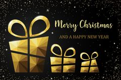 Merry christmas card with polygon gift vector