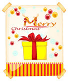 Merry Christmas card with present Stock Image