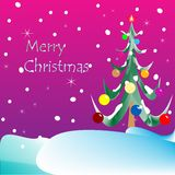 Merry christmas card (purple background) Royalty Free Stock Photos