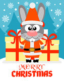 Merry Christmas card with rabbit Royalty Free Stock Photography