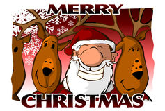 Merry Christmas Card (red). A funny merry Christmas card, red background royalty free illustration