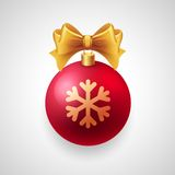 Merry Christmas  card with red bauble and gold Royalty Free Stock Photo