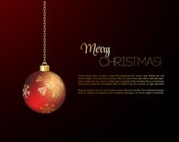 Merry Christmas  card with red bauble. Merry Christmas card with red bauble . Vector illustration Stock Image