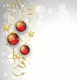 Merry Christmas  card with red bauble Royalty Free Stock Images