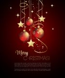 Merry Christmas  card with red bauble. Merry Christmas card with red bauble . Vector illustration Stock Photo