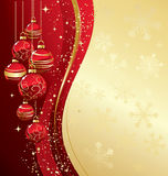Merry Christmas  card with red bauble Royalty Free Stock Photos