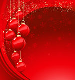 Merry Christmas  card with red bauble Stock Photography