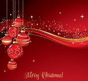 Merry Christmas  card with red bauble Stock Photo