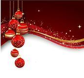 Merry Christmas  card with red bauble Royalty Free Stock Photo