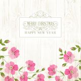 Merry christmas card. Merry christmas card with red blooming flowers over wooden background. Invitation background template for your design. Vector illustration Stock Photos