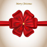 Merry Christmas card with a red bow Royalty Free Stock Photos