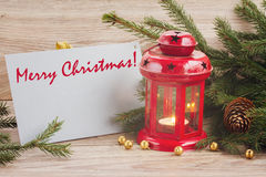 Merry christmas card with red glowing  lantern Stock Photos