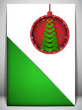 Merry Christmas Card Red and Green Envelope Stock Photo