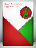 Merry Christmas Card Red and Green Envelope Stock Photos