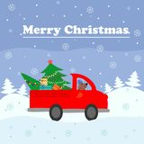 Merry Christmas card. Red a large vehicle delivers a Christmas tree to decorate the house. Colorful vector illustration for the wi Stock Photo