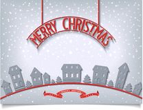 Merry Christmas card with red signboard lettering  Royalty Free Stock Photo