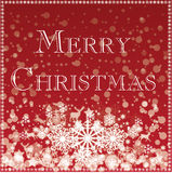 Merry christmas card - red with snowflakes and xmas icons Royalty Free Stock Photos