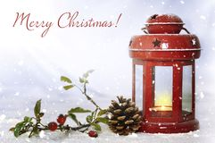 Merry Christmas card with vintage Christmas lantern Royalty Free Stock Photo