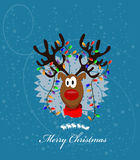 Merry Christmas Card with reindeer stock illustration