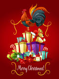 Merry Christmas card. Rooster cock vector poster. Merry Christmas greeting card with Rooster cock standing on christmas gifts heap. Symbol of 2017 new year Royalty Free Stock Image